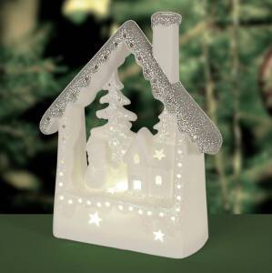 Lampion porcelanowy CHRISTMAS - LED Domek
