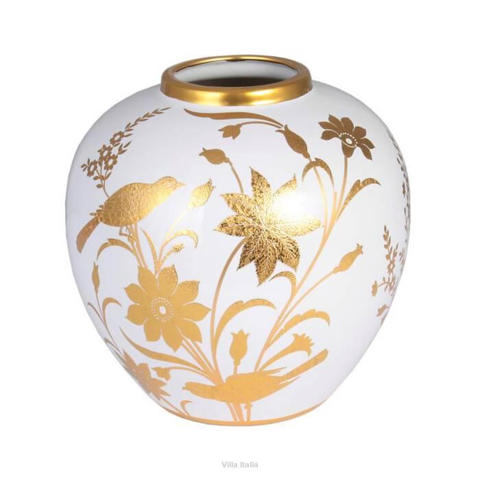Wazon ceramiczny malowany złotem CESARE 21 cm