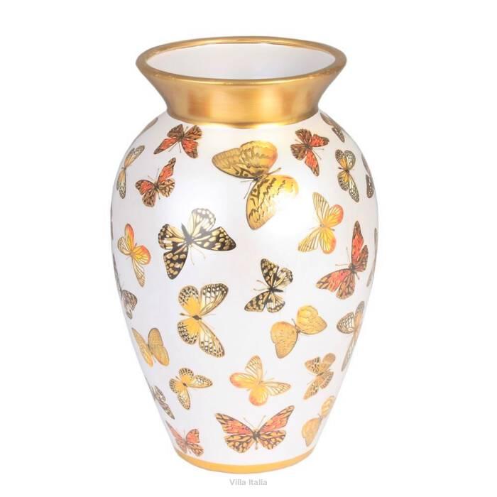 Wazon porcelanowy malowany złotem MARIPOSA 28 cm