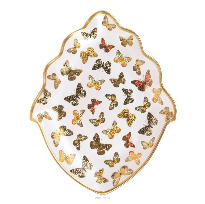 Talerz porcelanowy malowany złotem MARIPOSA 41 cm